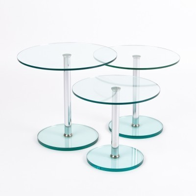 Set of 3 side tables from the seventies by unknown designer for unknown producer