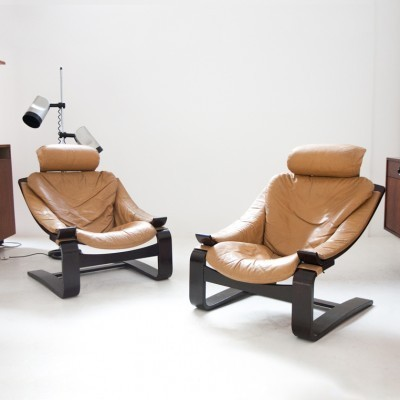 Pair of lounge chairs by Ake Fribyter for Nelo Mobel, 1970s