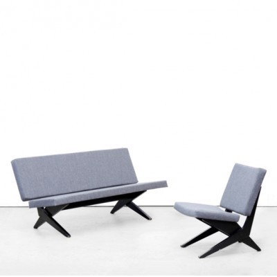 Set of 2 Scissor seating groups from the fifties by Jan van Grunsven for Pastoe