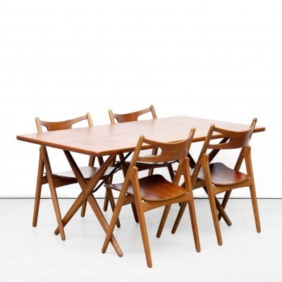 Set of 5 AT303 + CH29 dinner sets from the fifties by Hans Wegner for Andreas Tuck