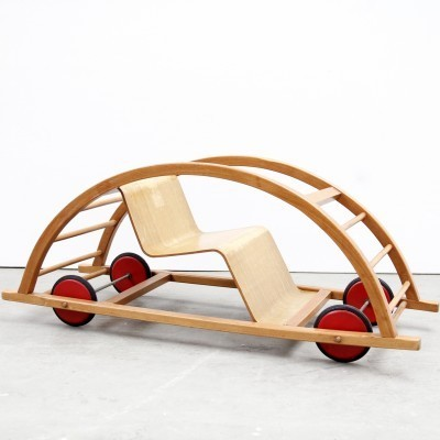 Schaukelwagen rocking chair from the fifties by Hans Brockhage & Erwin Andrä for Siegfried Lenz