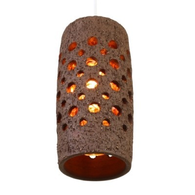 Perforated Ceramic cone shaped hanging lamp with inner Tube made of Glass