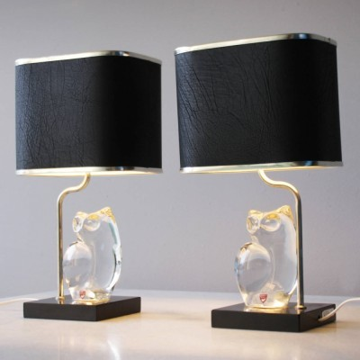 Pair of Crystal Lamps by Olle Alberius for Orrefors
