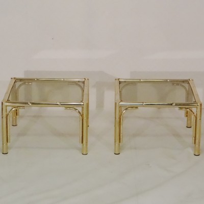 Pair of Faux Bamboo side tables by Belgo Chrom, 1970s