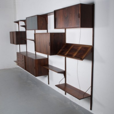 Palisander 425 X 200cm wall unit from the fifties by Kai Kristiansen for FM Mobel