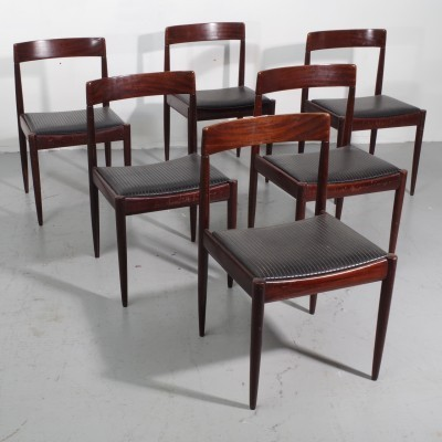 Set of 6 dinner chairs from the fifties by unknown designer for Lübke