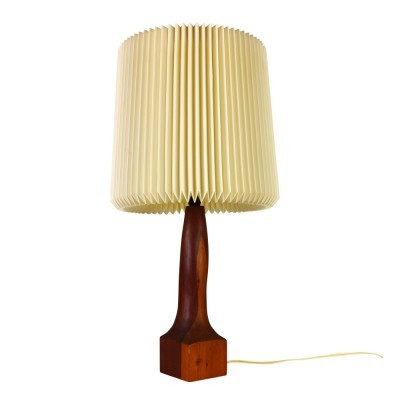 Organic wooden table light with harmonica style shade, 1960s