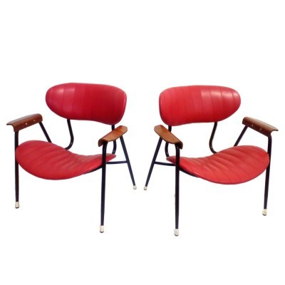 Set of 2 lounge chairs from the fifties by Gastone Rinaldi for Rima Italy
