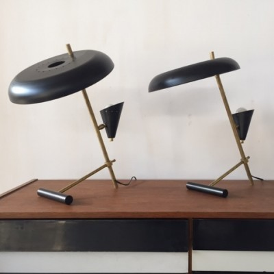 Set of 2 desk lamps from the fifties by Guariche Kauff for Philips