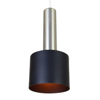 Minimalist cylindrical pendant hanging lamp from the sixties