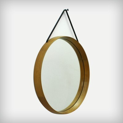 Swedish Solid Oakwood Mirror by Uno & Östen Kristiansson for Luxus, 1960s