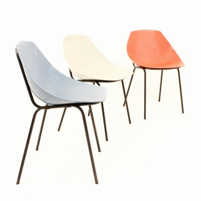 Set of 3 dining chairs by Pierre Guariche for Meurop, 1950s