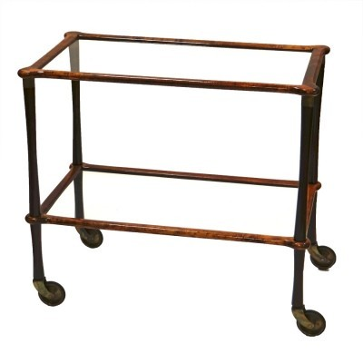 Wood & glass serving trolley, 1950s