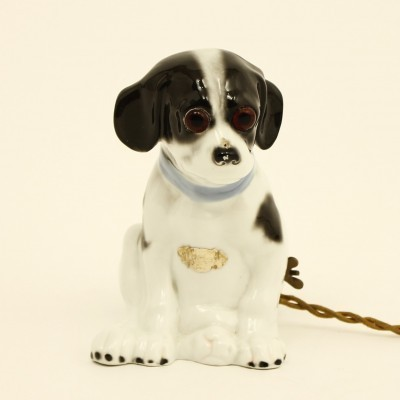 Porcelain dog shaped lamp by Wilhelmsfeld, 1930s