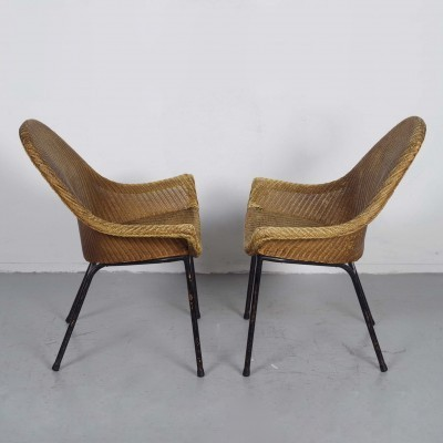 2 MS Rotterdam Lounge lounge chairs from the fifties by unknown designer for Lloyd Loom