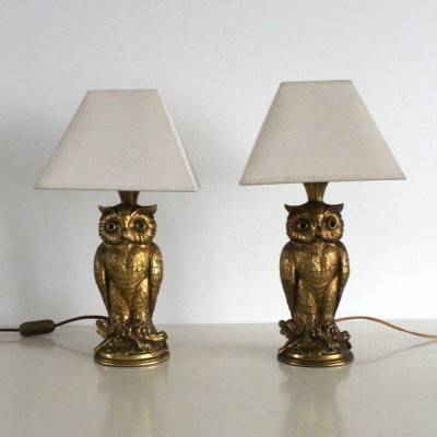 Pair of Owl desk lamps by Loevsky & Loevsky, 1960s