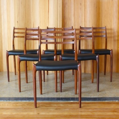 Set of 6 Model 78 dinner chairs from the fifties by Niels O. Møller for JL Møller Møbelfabrik