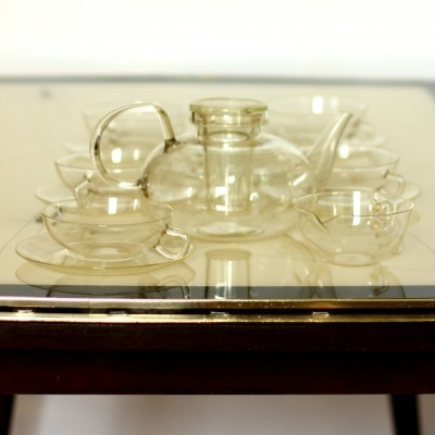 Tea Set from the fifties by Wilhelm Wagenfeld for Jenaer Glaswerk