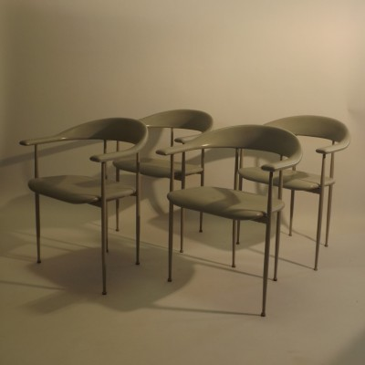 Set of 4 dinner chairs by Giancarlo Vegni & G. Gualtierotti for Fasem, 1980s