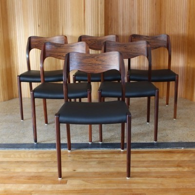 Set of 6 Model 71 dinner chairs from the fifties by Niels Otto Møller for JL Møller Møbelfabrik