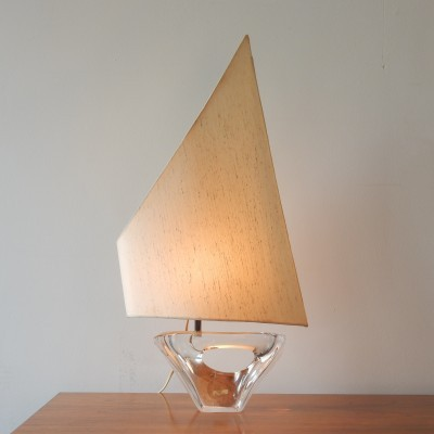 Sailboat desk lamp by Daum France, 1950s