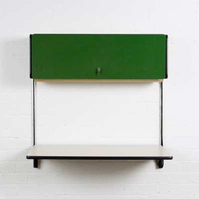 Apple office desk with green fabric covered flap by George Nelson for Herman Miller