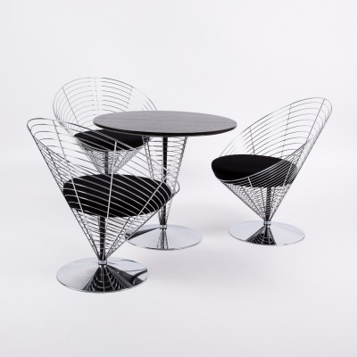 Set of 2 V-8800 Cone dinner sets from the eighties by Verner Panton for Fritz Hansen