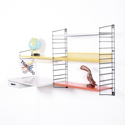 Shelves With Desk / Light / Basket wall unit from the fifties by A. Dekker & D. Dekker for Tomado Holland