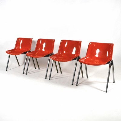 4 Modus Stacking Chair dinner chairs from the sixties by Osvaldo Borsani for Tecno