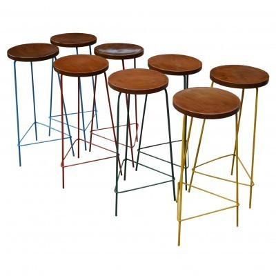 8 x The College Of Architecture In Chandigarh stool by Pierre Jeanneret, 1950s