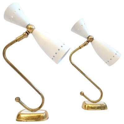 Set of 2 wall lamps from the fifties by unknown designer for Stilnovo