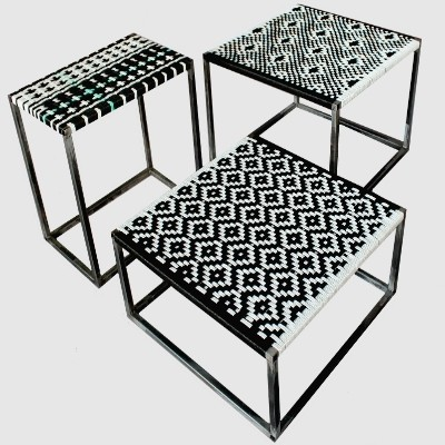 3 side tables from the nineties by unknown designer for unknown producer