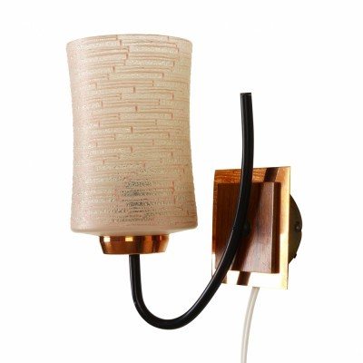 Danish design teak wall lamp with ribbed glass, 1960s #68023