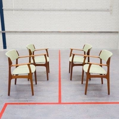 Set of 4 Model 50 arm chairs by Erik Buck for O. D. Møbler, 1950s