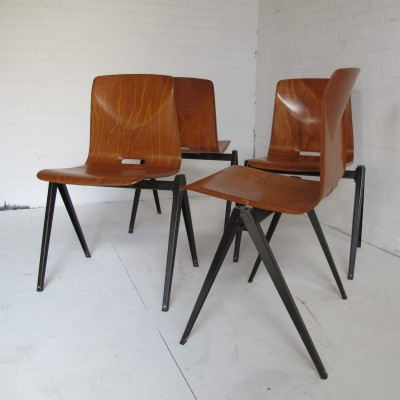 Set of 8 Flötotto dining chairs, 1950s