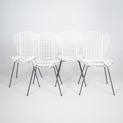 Set of 4 Wire dinner chairs from the fifties by unknown designer for unknown producer