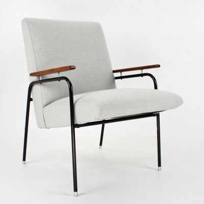 Mid century modern French lounge chair in black metal, grey fabric & teak