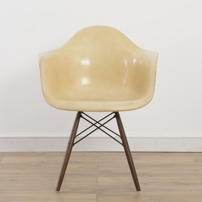 2nd Gen Arm Shell Chair - Ochre - On DAW Base dining chair by Charles & Ray Eames for Zenith Plastics, 1950s