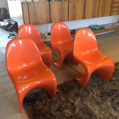 Set of 4 Panton dinner chairs from the sixties by Verner Panton for Fehlbaum
