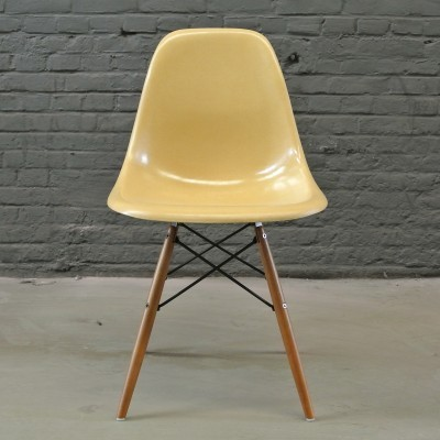 3 DSW Ochre Light dinner chairs from the fifties by Charles & Ray Eames for Herman Miller