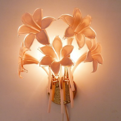 Pair of Flowers wall lamps by Franco Luce, 1970s