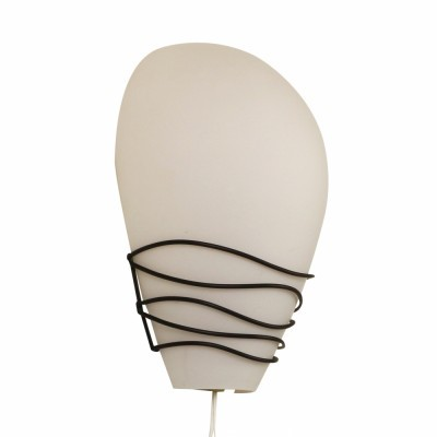Rare Philips wall light from the fifties made of milk glass & black wire