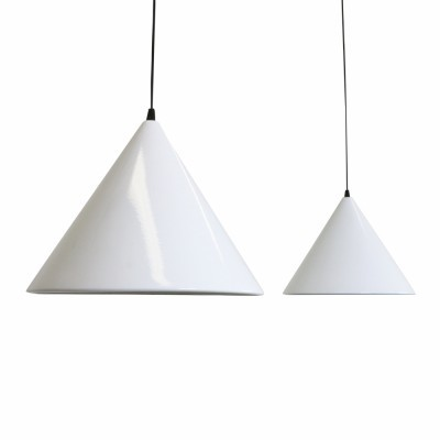 Set of two cone shaped pendants made of enameled white metal produced in the sixties