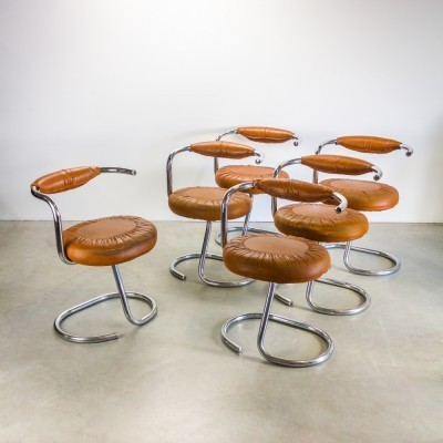 Set of 6 Cobra dining chairs by Giotto Stoppino for Stoppino, 1970s