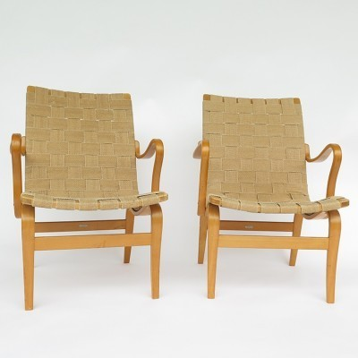 Pair of Eva lounge chairs by Bruno Mathsson for Karl Mathsson, 1940s