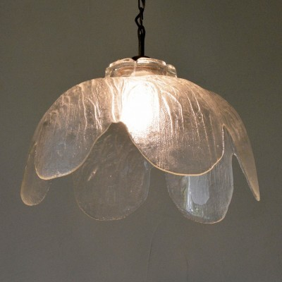 Ice Structured Glass hanging lamp from the sixties by unknown designer for unknown producer