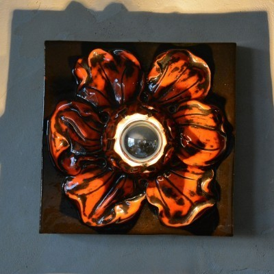 Ceramic Flower wall lamp from the sixties by unknown designer for unknown producer