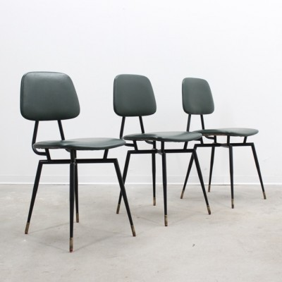 3 dinner chairs from the fifties by Gastone Rinaldi for unknown producer