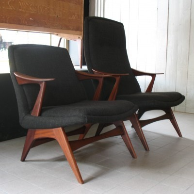 Set of 2 arm chairs from the fifties by Fredrik Kayser for Hjelle Stol & Mobelfabrikk
