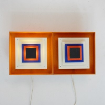 Set of 2 Kvadrille wall lamps from the sixties by Bent Karlby for Lyfa